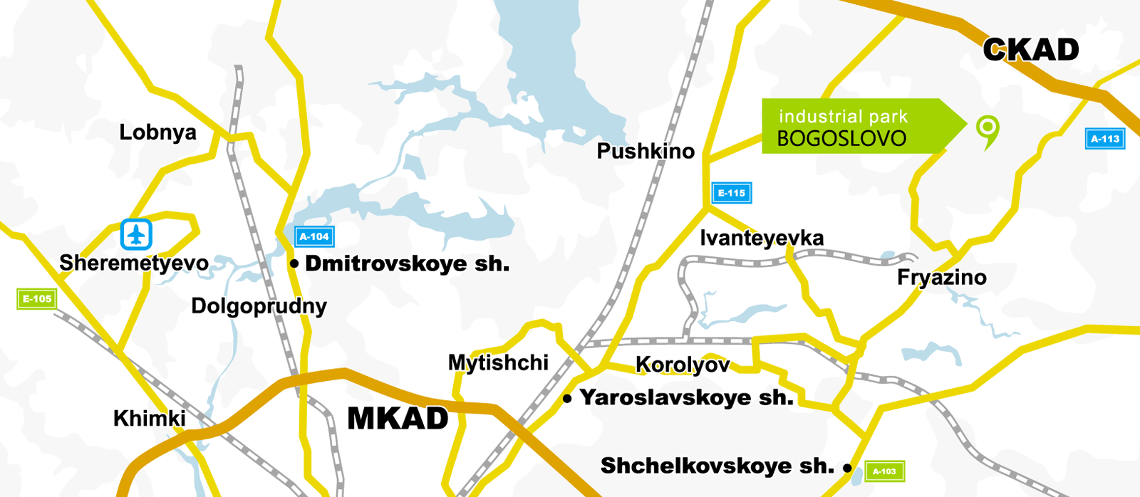 Route map to Bogoslovo industrial park