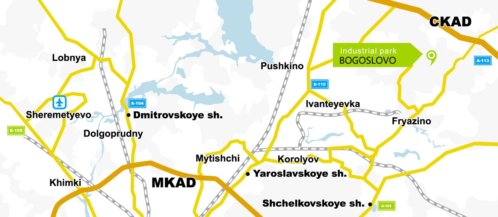 Indicazioni per il parco Industriale di Bogoslovo